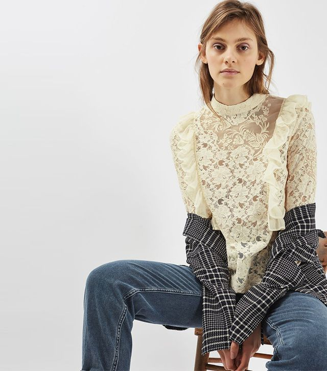 Topshop Long Sleeve Lace Ruffle Top