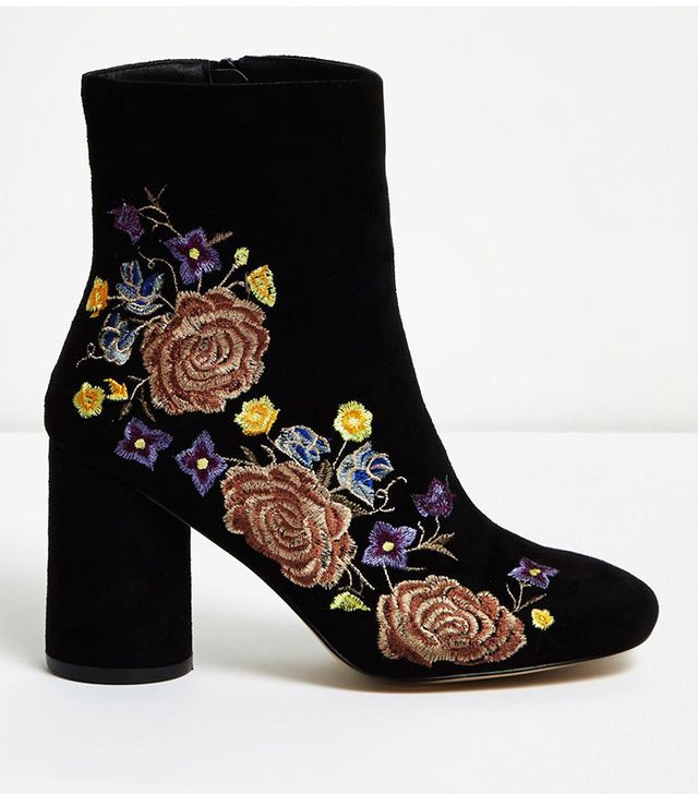 River Island Black Embroidered Floral Ankle Boots