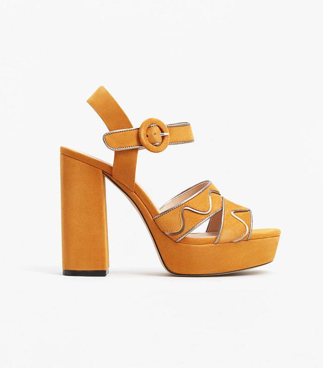 Mango Platform Leather Sandals
