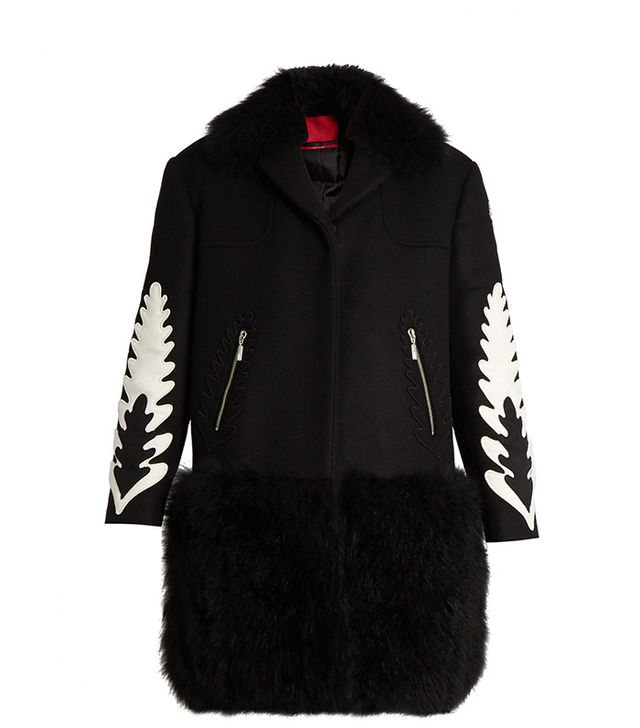 Moncler Gamme Rouge Katie Shearling-Trim Wool and Cashmere Coat