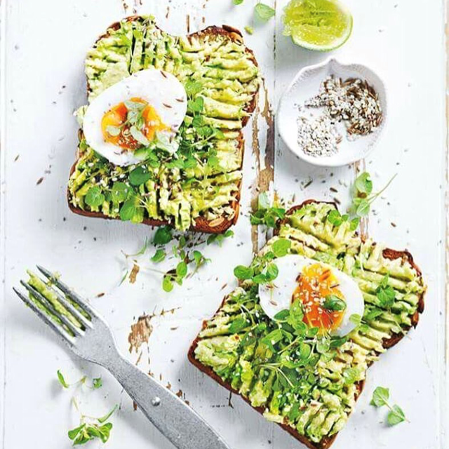 Avocado and eggs on toast.