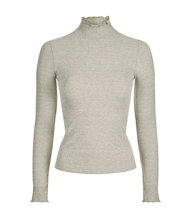 Topshop Long Sleeve Frill Neck top
