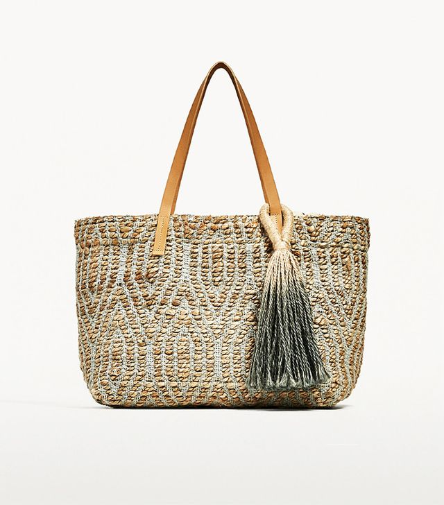 Zara Embroidered Tote With Tab