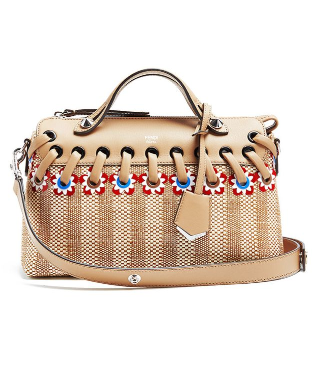 Fendi By The Way Straw and Leather Bag