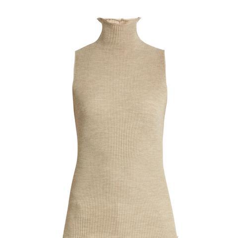 Brianna Ribbed-Knit Wool Sleeveless Sweater