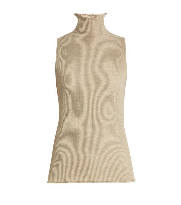 Minimalist fashion: The Row Brianna Ribbed-Knit Wool Sleeveless Sweater