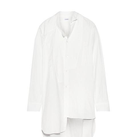 Oversized Asymmetric Cotton-Gauze Shirt