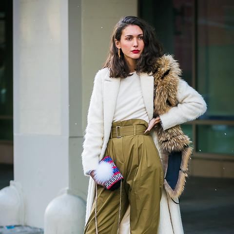 Minimalist fashion: paper bag khaki trousers