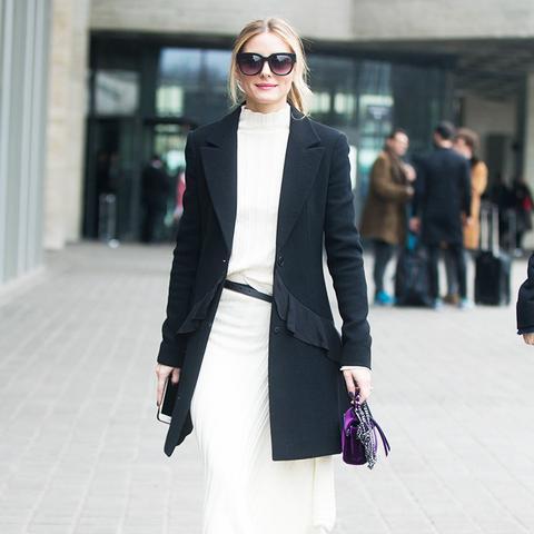 Minimalist fashion: jumper dress and black blazer