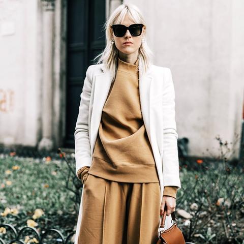 Minimalist fashion: camel tracksuit