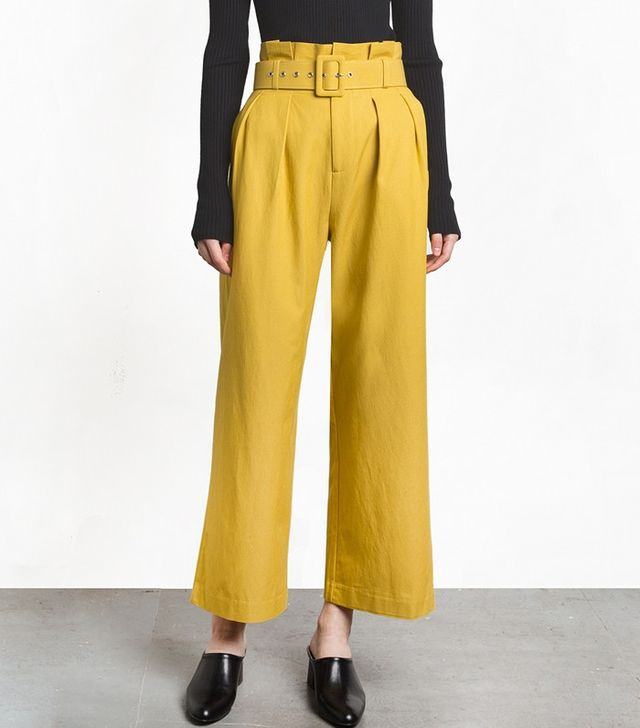 Pixie Market Mustard Paperbag Belted Waist Pants