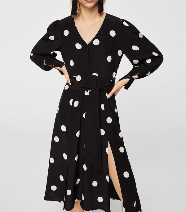 Bow polka-dot dress