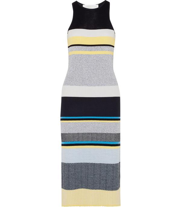 Striped Ribbed-knit Midi Dress