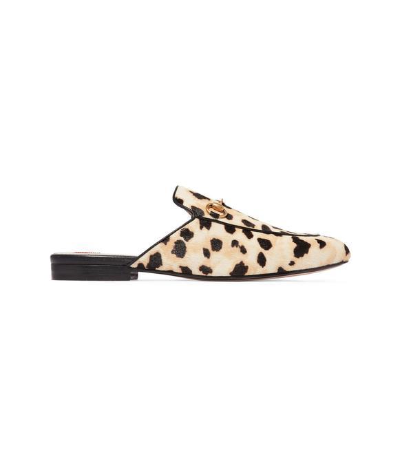 Princetown Horsebit-detailed Leopard-print Calf Hair Slippers