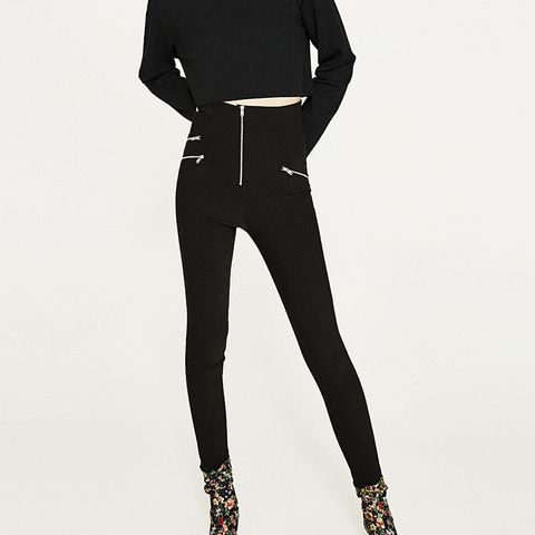 High Rise Leggings With Zip