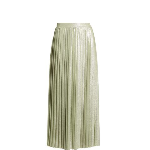 Metallic Pleated Wraparound Maxi Skirt