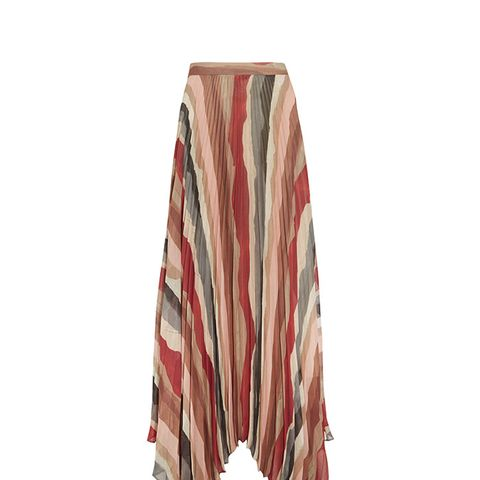 Shannon Asymmetric Pleated Printed Georgette Maxi Skirt