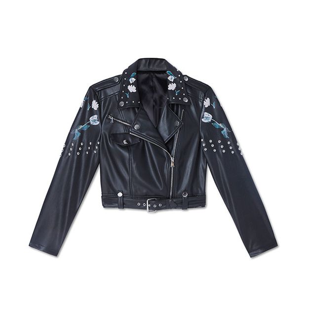 bebe Studded Floral Moto Jacket