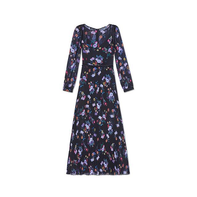bebe Print Pleated Maxi Dress