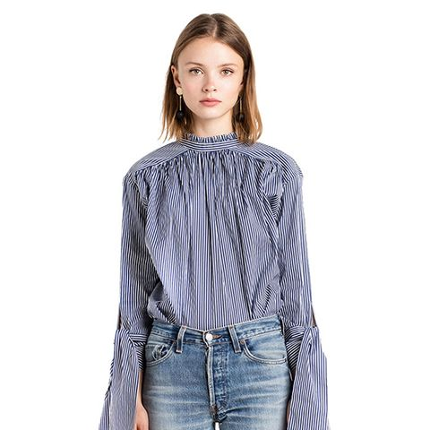Sexy Button Back High Mock Neck Striped Self Tie Bell Sleeve Blouse Shirt Top Blue