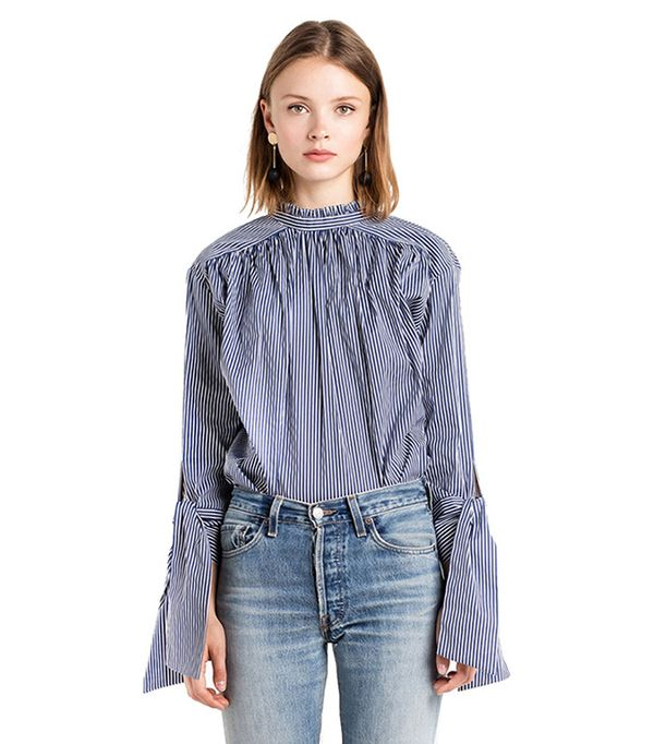 Arctic Cubic Sexy Button Back High Mock Neck Striped Self Tie Bell Sleeve Blouse Shirt Top Blue