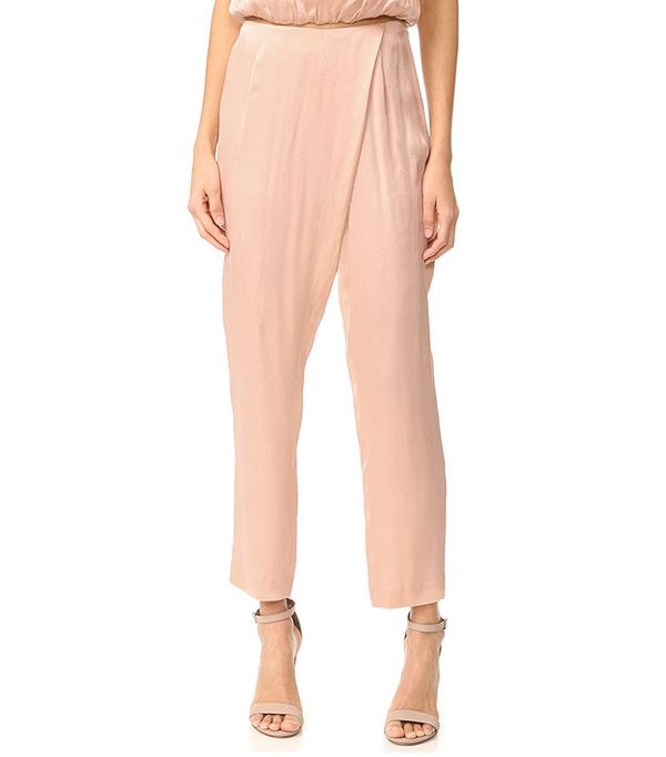 Kendall + Kylie Women's Silk Draped Trousers