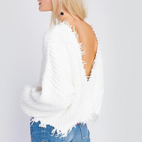 Palmetto Fringe Crop V Sweater