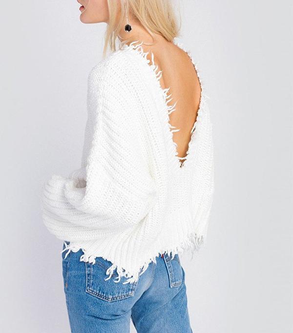 Wildfox Palmetto Fringe Crop V Sweater
