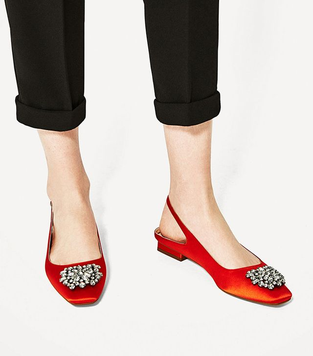 Zara Flat Slingback Shoes with Beaded Detail