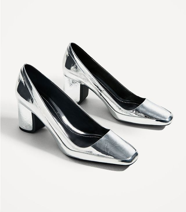 Zara Sliver-Toned High Heel Shoes
