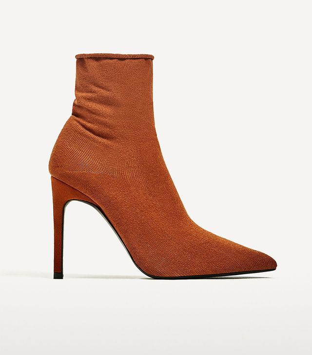 Zara High Heel Sock Style Ankle Boots
