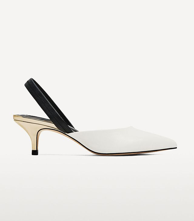 Zara Contrasting Slingback Heeled Shoes