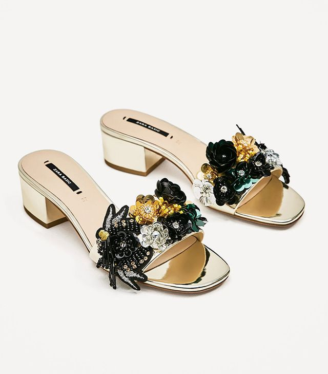 Zara Beaded Vamp and Heel Sandals