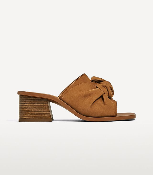 Zara Knotted Slingback High Heel Leather Shoes