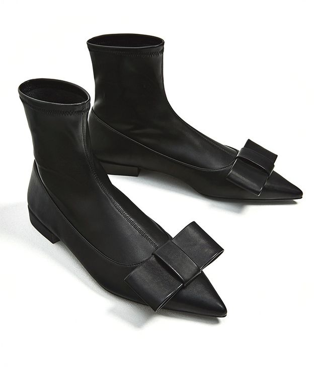 Zara Flat Ankle Boots with Bow Detail