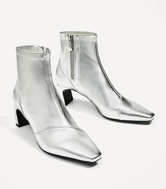 Zara Sliver-Toned Elastic High-Heel Ankle Boots