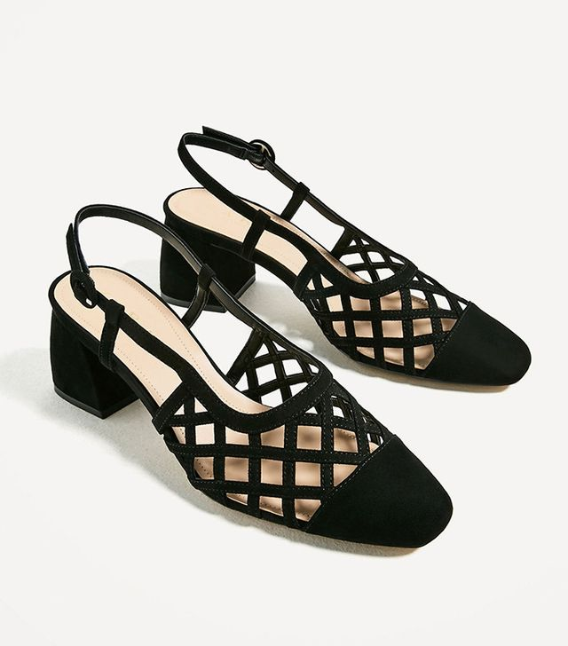 Zara Openwork Slingback High Heel Shoes