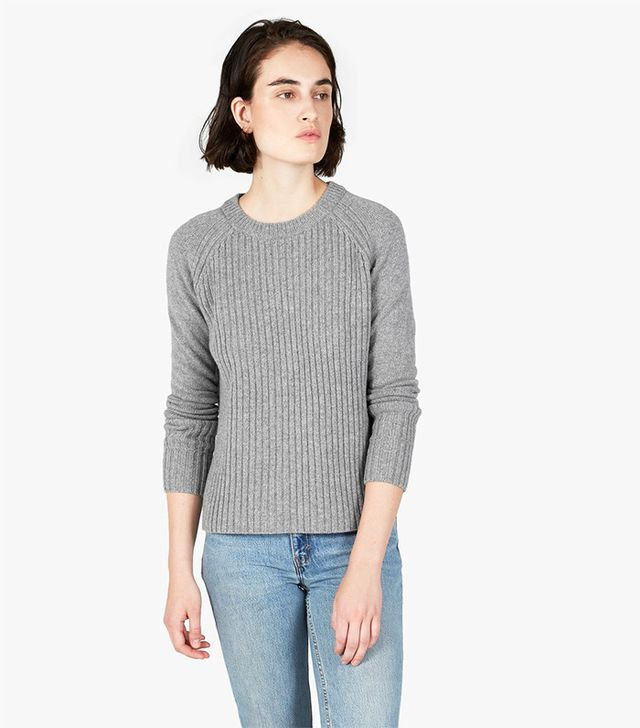 Everlane The Ribbed Wool-Cashmere Crew Sweater