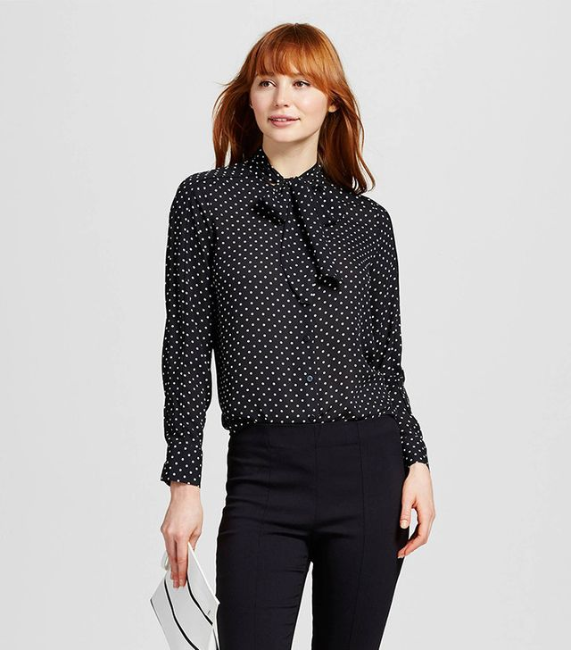 Who What Wear Long Sleeve Piped Bow Blouse