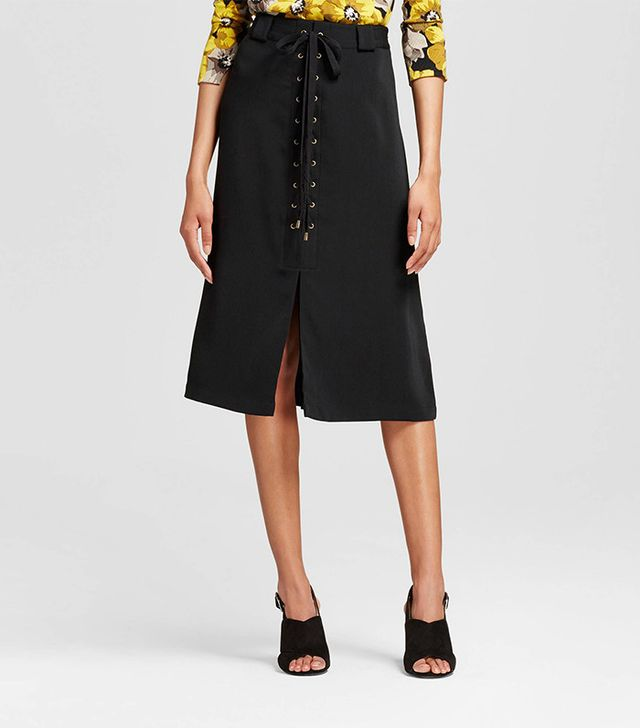 Who What Wear Lace up A-Line Skirt