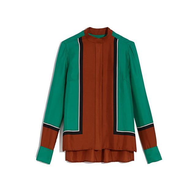 Diane von Furstenberg Colorblock Silk Shirt