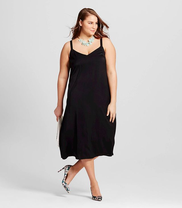 Who What Wear Plus Size Slip Dress with Contrast Straps