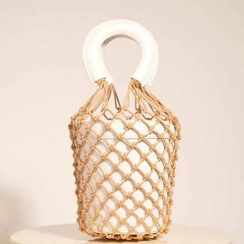 Moreau Macramé and Leather Bucket Bag