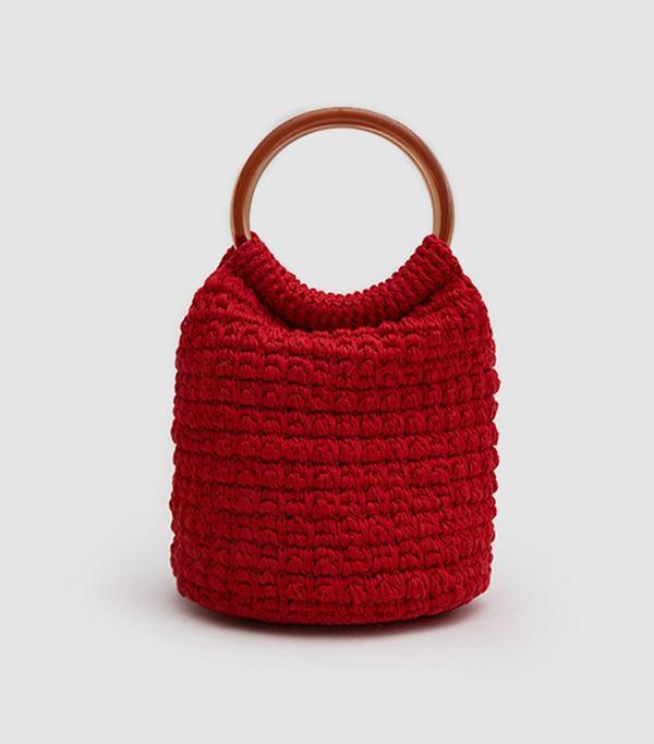 Praia Hand Crochet Bucket in Red
