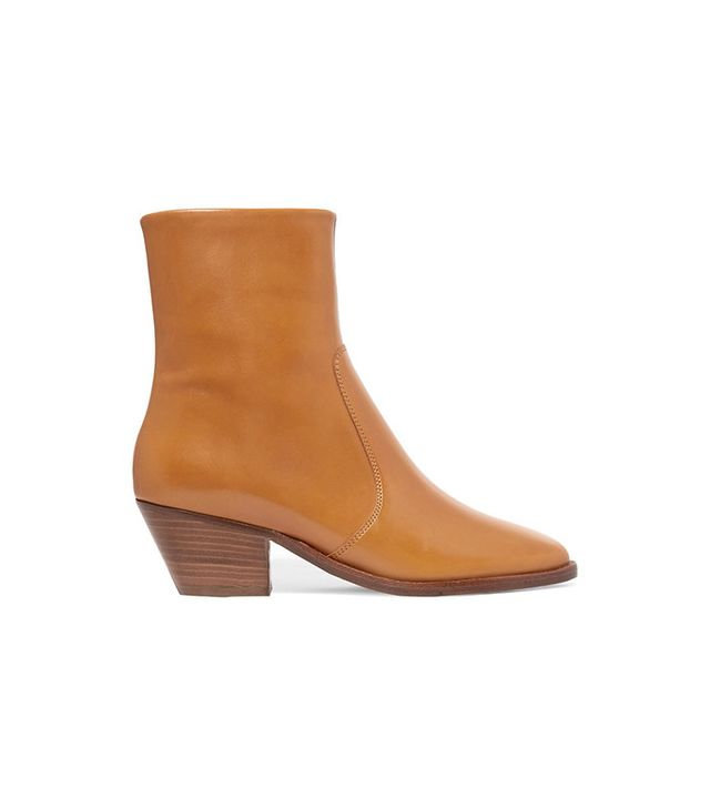 Isabel Marant Etoile Doynie Glossed-Leather Ankle Boots
