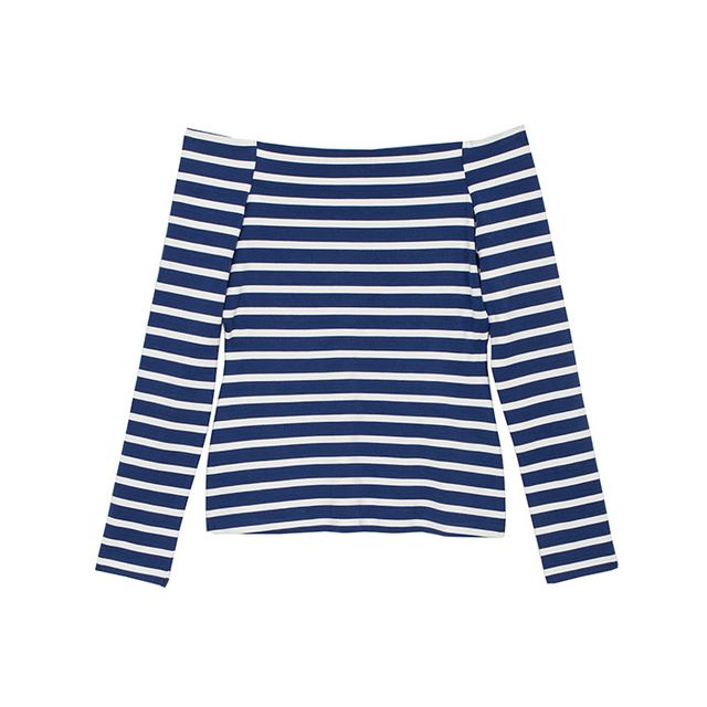 L'Agence Cynthia Striped Off-the-Shoulder Blouse