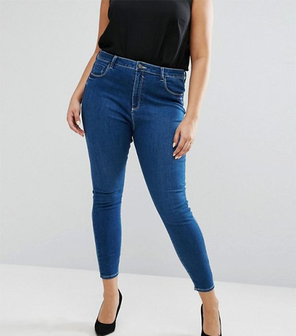 ASOS Curve High Waist Ridley Skinny Jean in Hester Wash
