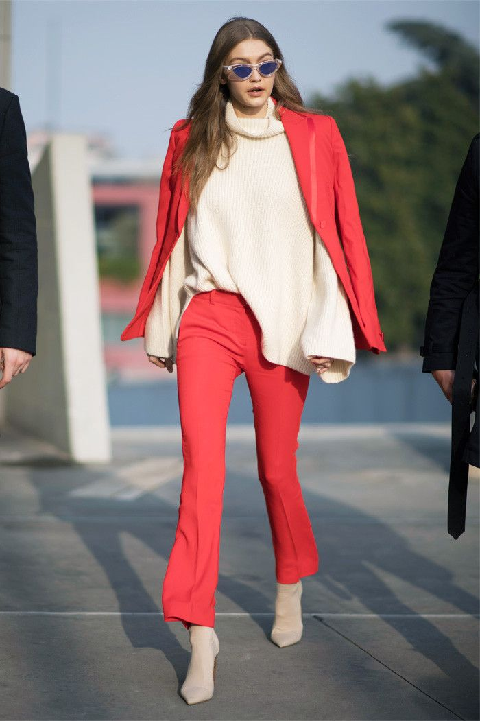 Gigi Hadid red suit