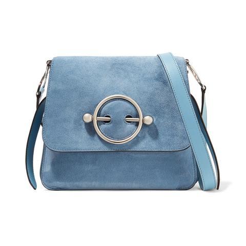 Disc Suede Shoulder Bag
