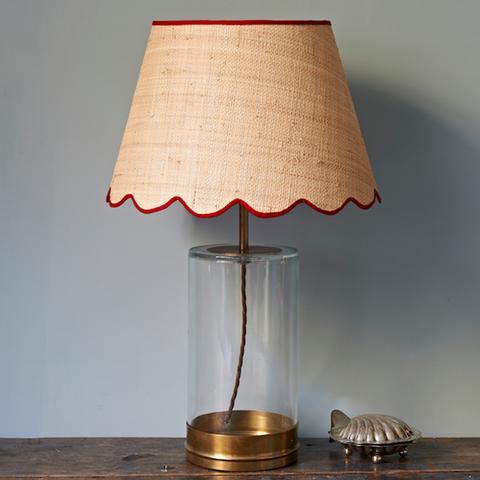 Raffia Scallop Lampshape With Red Trim